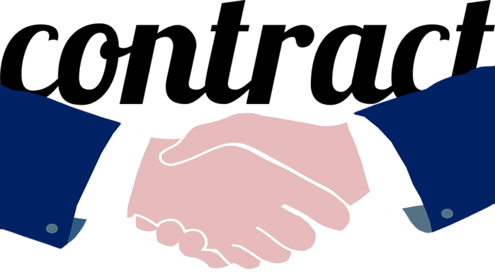 Shaking hands in a contractual situation